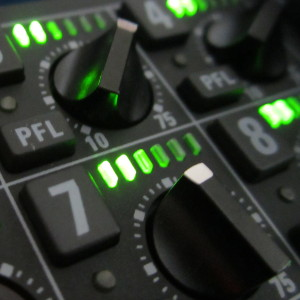 Closeup of typical location sound mixer equipment